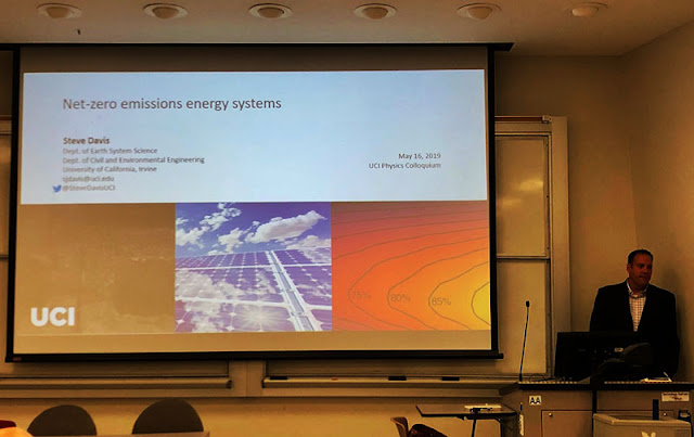 "UCI Professor Steve Davis at colloquium presentation on ""Net-zero emissions energy systems."""