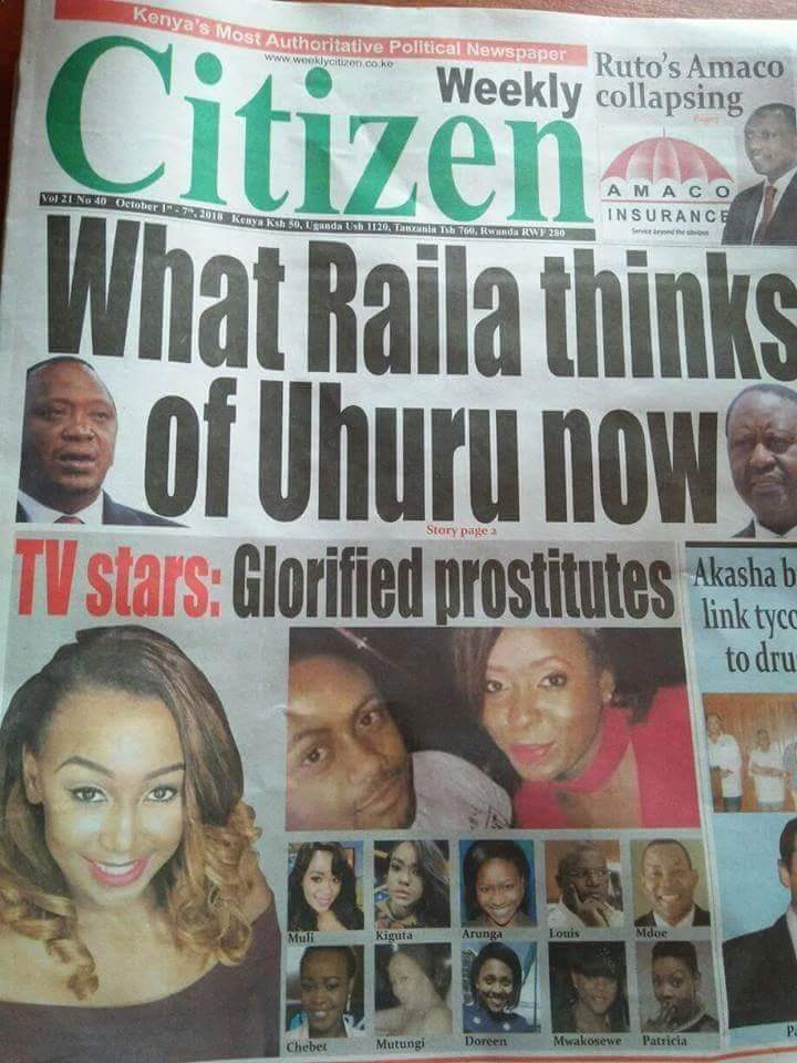GLORIFIED PR0ST1TUTES: Newspaper Attacks Betty Kyallo, Ann Kiguta, Lilian Muli Among Others Betty Mutei Kyallo, Homeboyz Radio presenter Patricia Kihoro, Capital FM presenter Cess Mutungi, Ugandan journalist Joy Doreen Bira, Citizen TV news anchor Ann Kiguta, embattled Esther Arunga, former news presenter Louis Otieno, Citizen TV Kiswahili anchor Swale Mdoe, Fanaka CEO Terryanne Chebet and the late Grace Makosewe. Glorifed Prostitutes