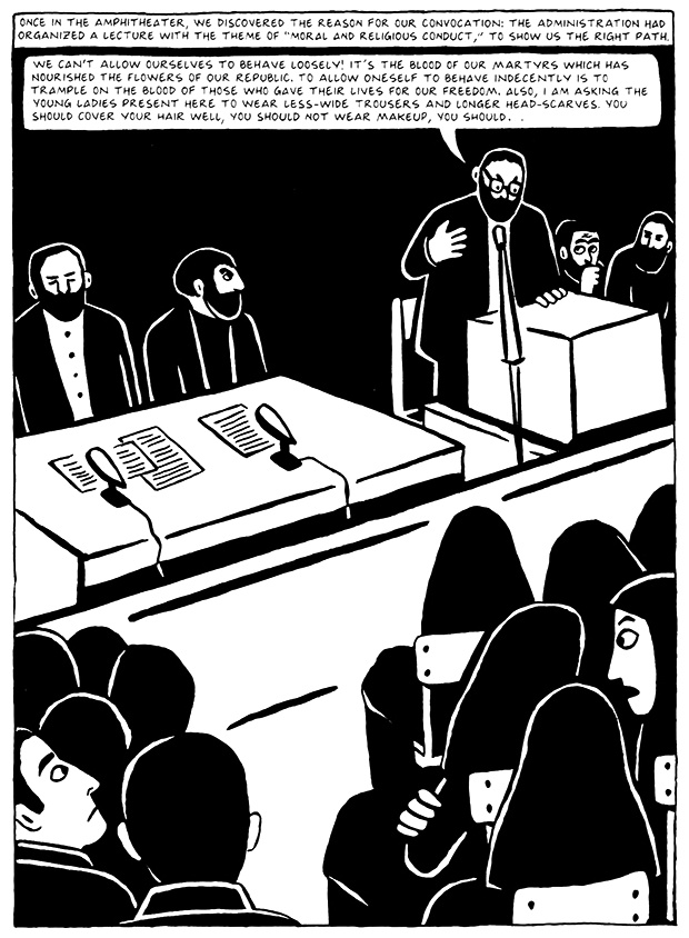 Read Chapter 15 - The Convocation, page 142, from Marjane Satrapi's Persepolis 2 - The Story of a Return