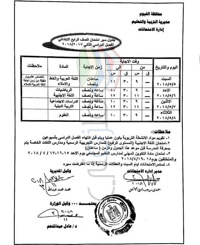 جدول امتحانات الصف الرابع الابتدائي 2018 الترم الثاني محافظة الفيوم