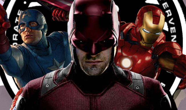 Daredevil junto al Capitán América e Iron Man, en un fotomontaje