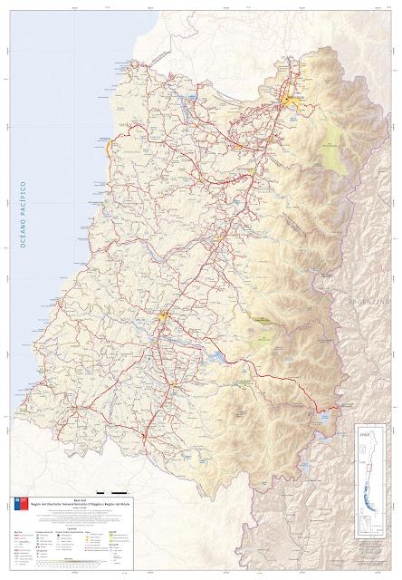 Mapa rodoviário do Centro do Chile - região Ohiggins e Maule