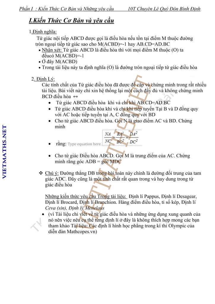 ứngng dụng của tứ giác điều hòa chuyên Toán tỉnh Bình Định