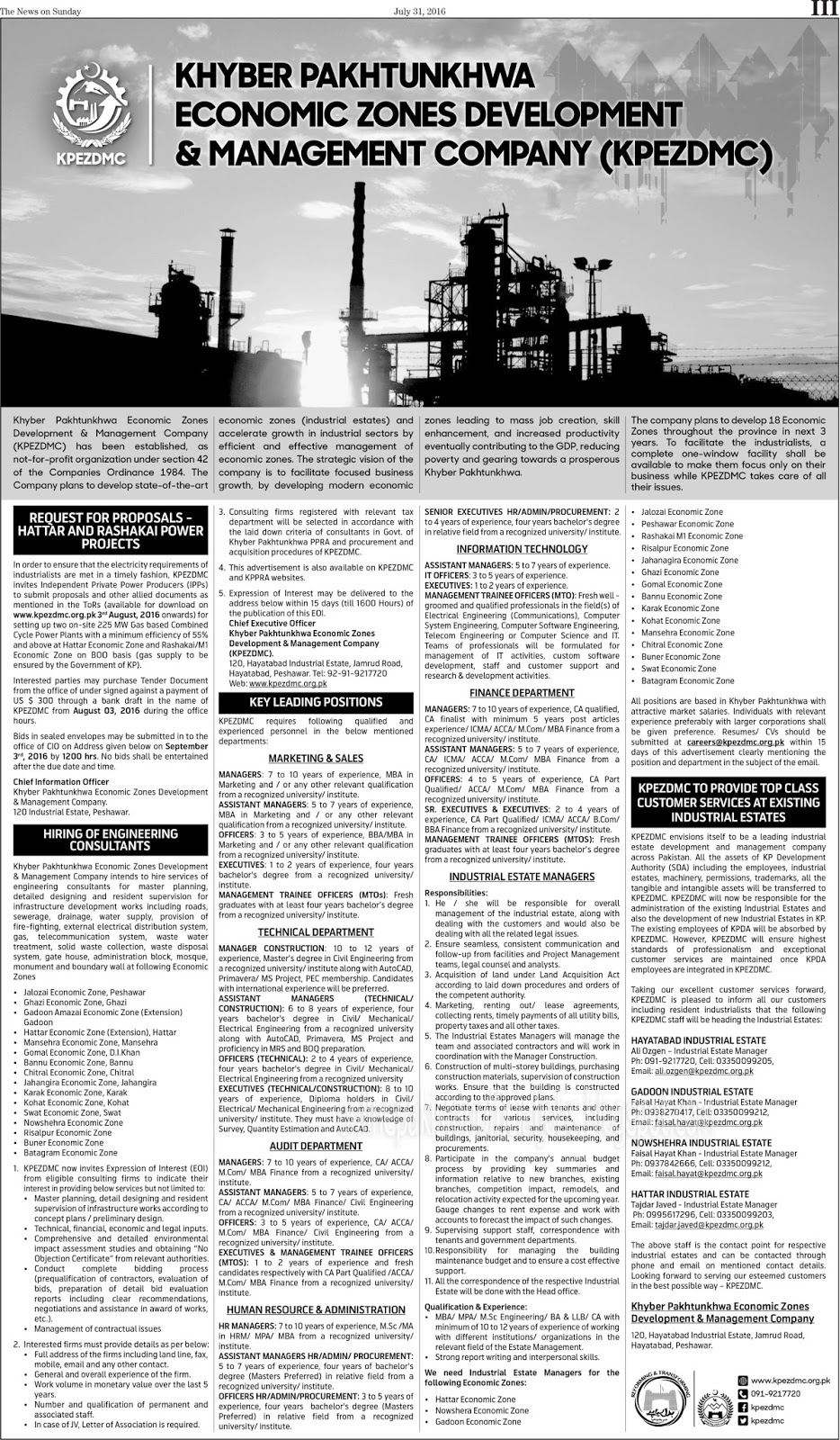 KPK Economic Zones Development & Management Company Jobs Augest 2016
