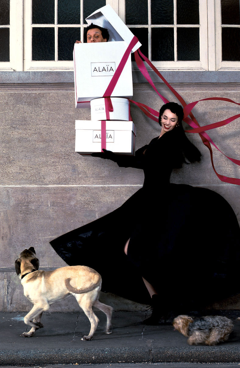Beatrice Dalle & Azzedine Alaia (& his pups) photographed by Jean-Paul Goude, Paris 1988 via www.fashionedbylove.co.uk