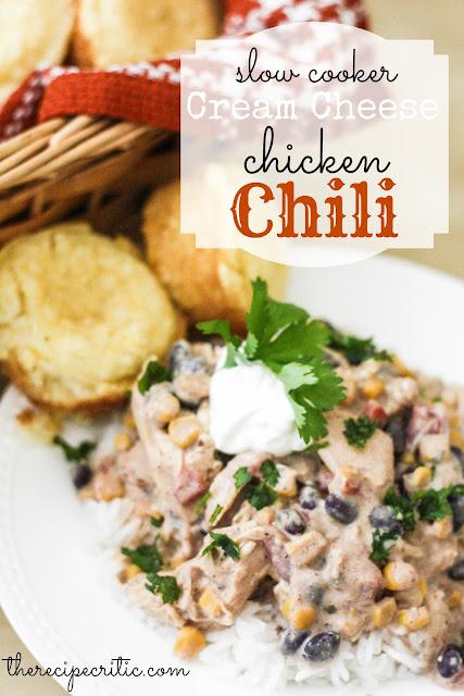 Easy Slow Cooker Cream Cheese Chicken Chili Recipe #slowcooker #chickenrecipe #chicken #creamcheese #chickenchili #slowcookerrecipe #maindish #dish #dinnerrecipe