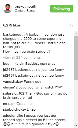 comedian Basketmouth's statement