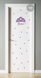 vinilo decorativo infantil niñas nena corona coronita princesa puerta dormitorio