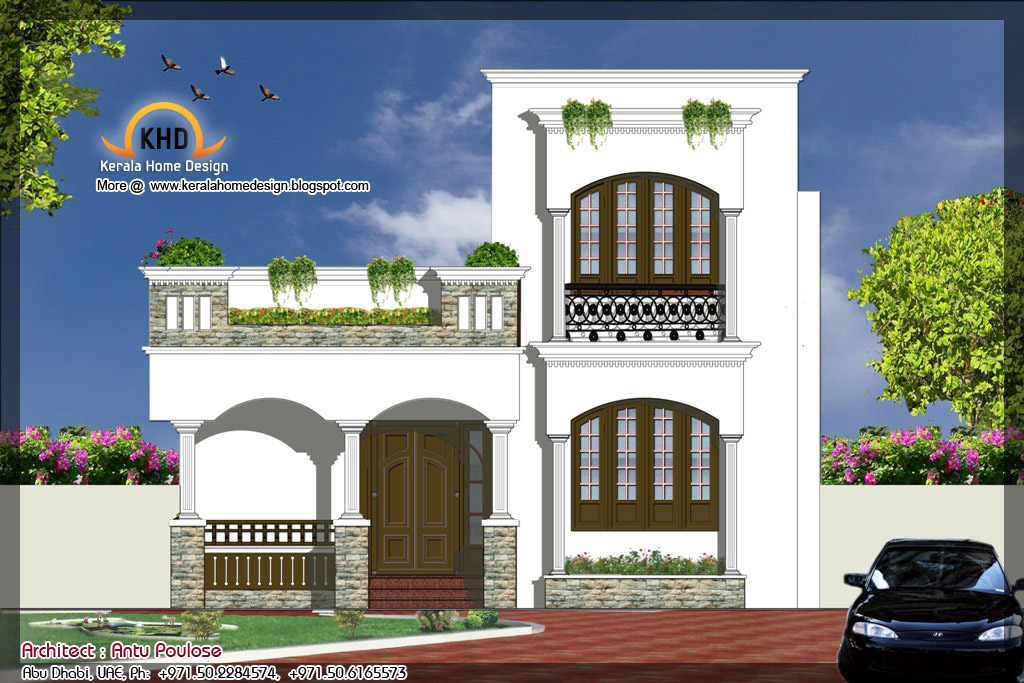 Front Elevation Square : House plan and elevation sq ft kerala home