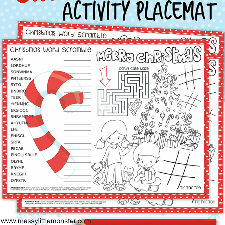 image regarding Printable Placemats known as Printable Xmas Sport Placemats - Messy Small Monster