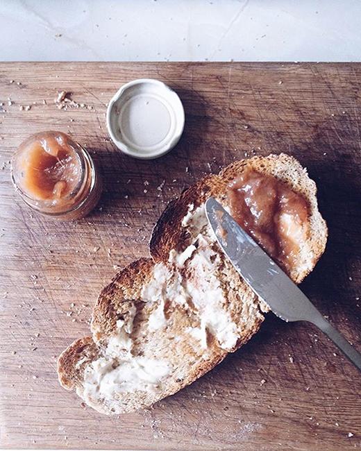 Homemade Granary bread turned into a simple breakfast of toast & rhubarb jam.