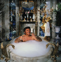 Liberace in his mansion bathtub