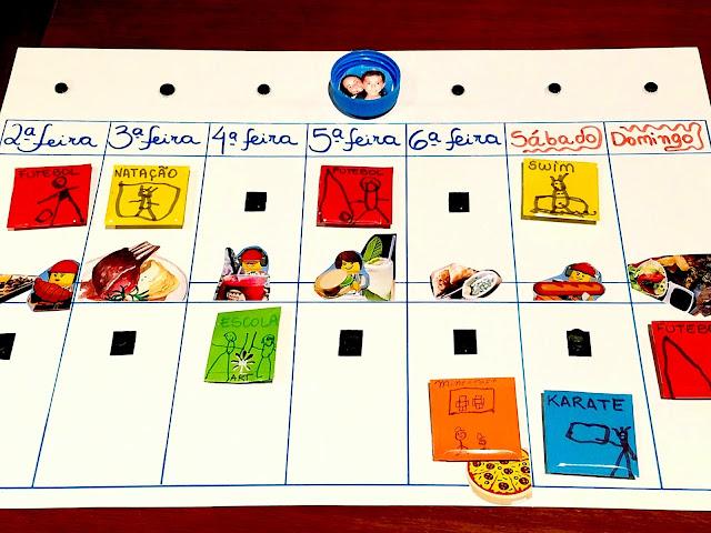 calendario agenda semanal para crianças