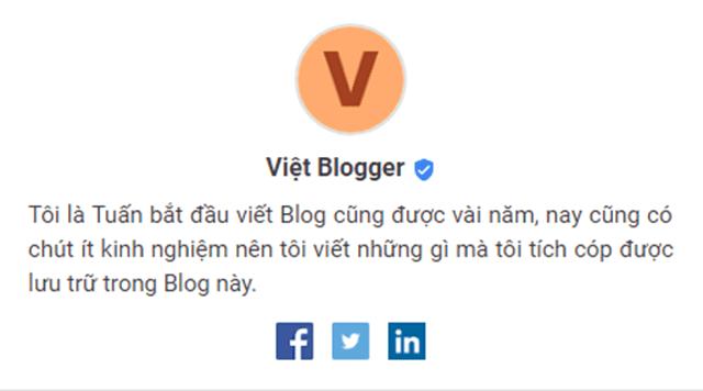 Mẫu giới thiệu thông tin tác giả đẹp cho Blog