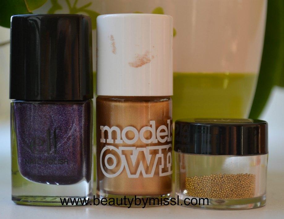 nail art beads, purple nail polish, golden nail polish