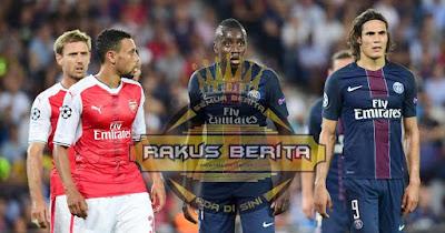 Pertandingan Terakhir Arsenal vs PSG Skor Imbang 1-1 ( 14 September 2016)