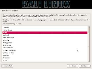 instalasi kali linux tahap pemilihan lokasi dimana anda berada