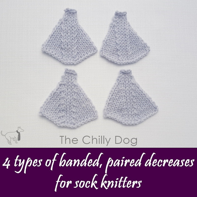 4 banded, paired decreases for knit sock toes using k2tog, ssk, skpo, ksno