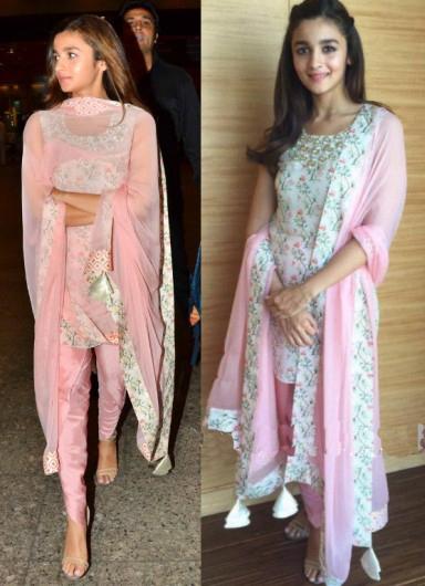 Alia Bhatt in Payal Pastel Pink and White Salwar Kameez