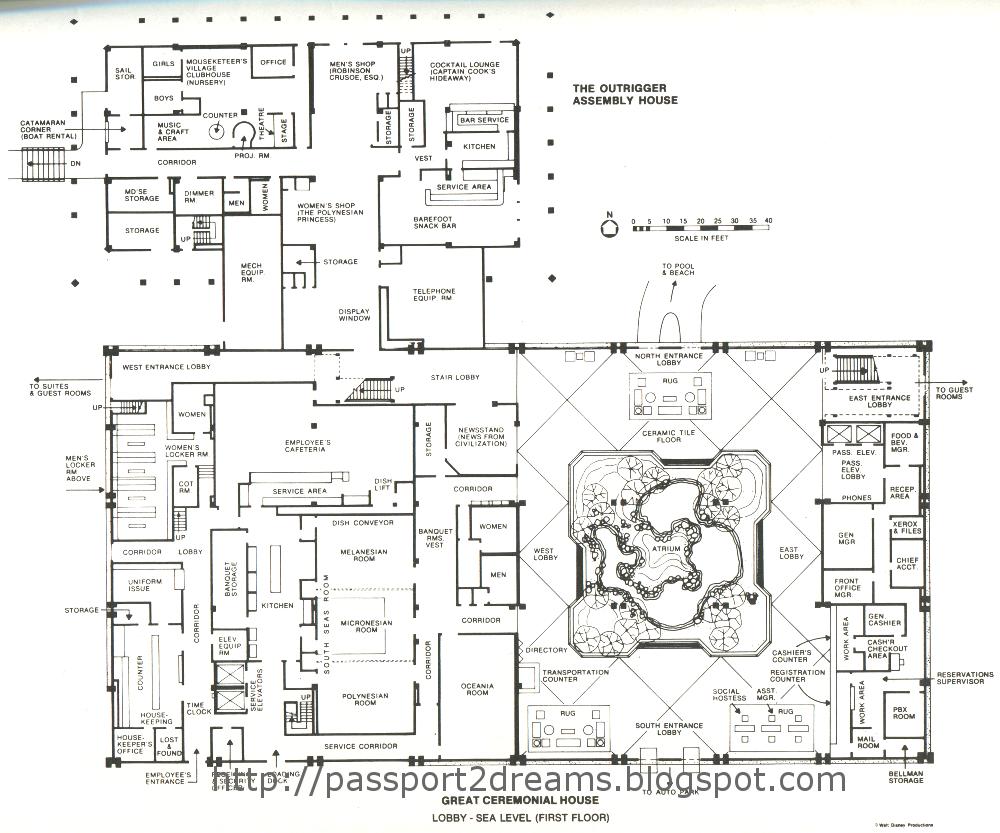 polynesian great ceremonial house plans 1st floor walt