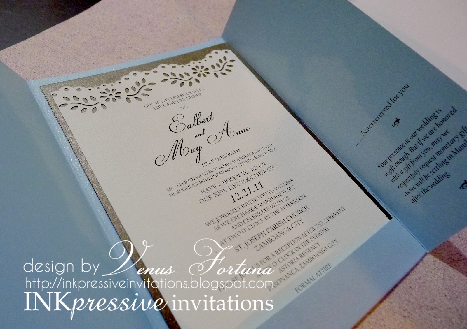 Gatefold Wedding Invitation Powder Blue Chocolate