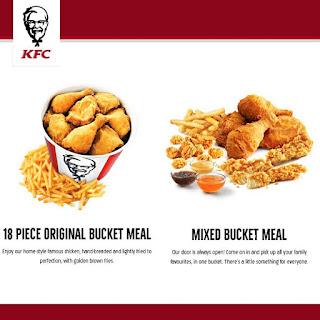 KFC Canada Menu Prices January 1 - April 30, 2017