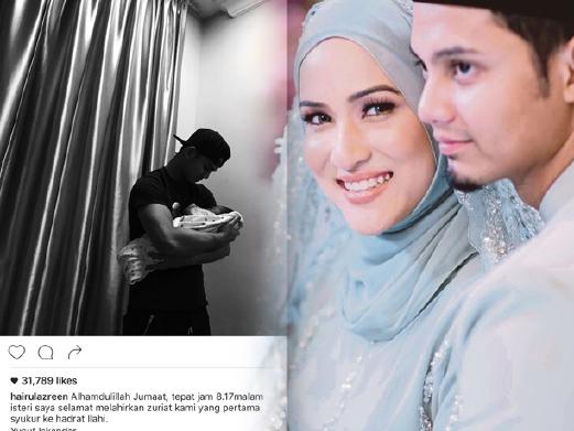 Hairul Azreen, Hanis Zalikha selamat timang anak sulung