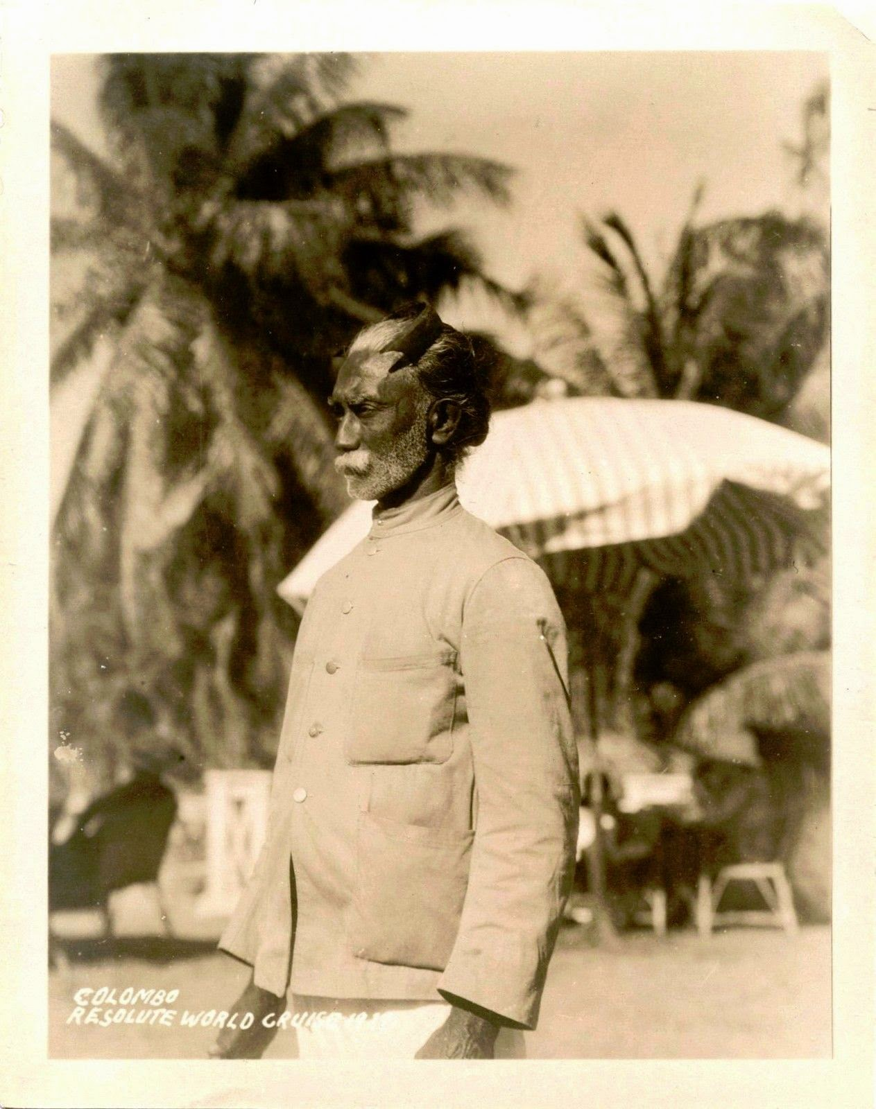 Portrait of a Man on Street of Colombo - Ceylon (Sri Lanka) 1929