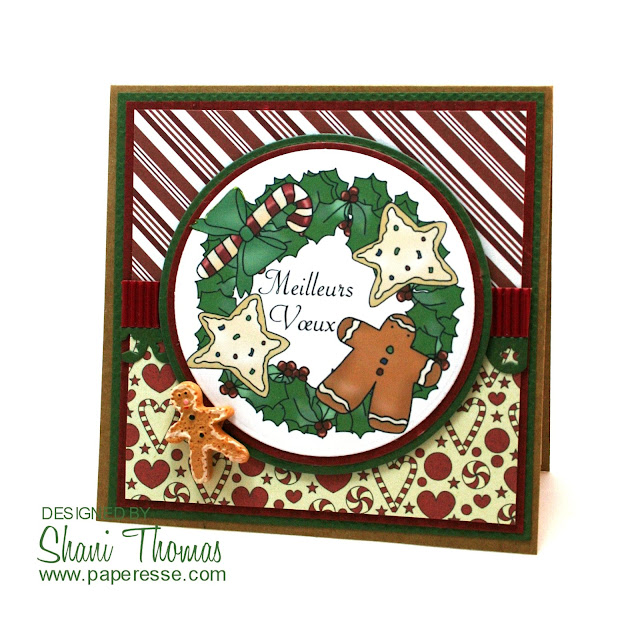 Gingerbread Man and Stars Christmas Wreath card, featuring Digi Web Studio Cheryl Seslar Sweet Wreath topper, by Paperesse.