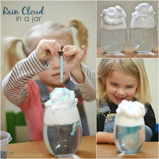 KID SCIENCE: Make a rain cloud in a jar. Great for all ages!  #scienceforkids #weatheractivitiesforkids #springscience