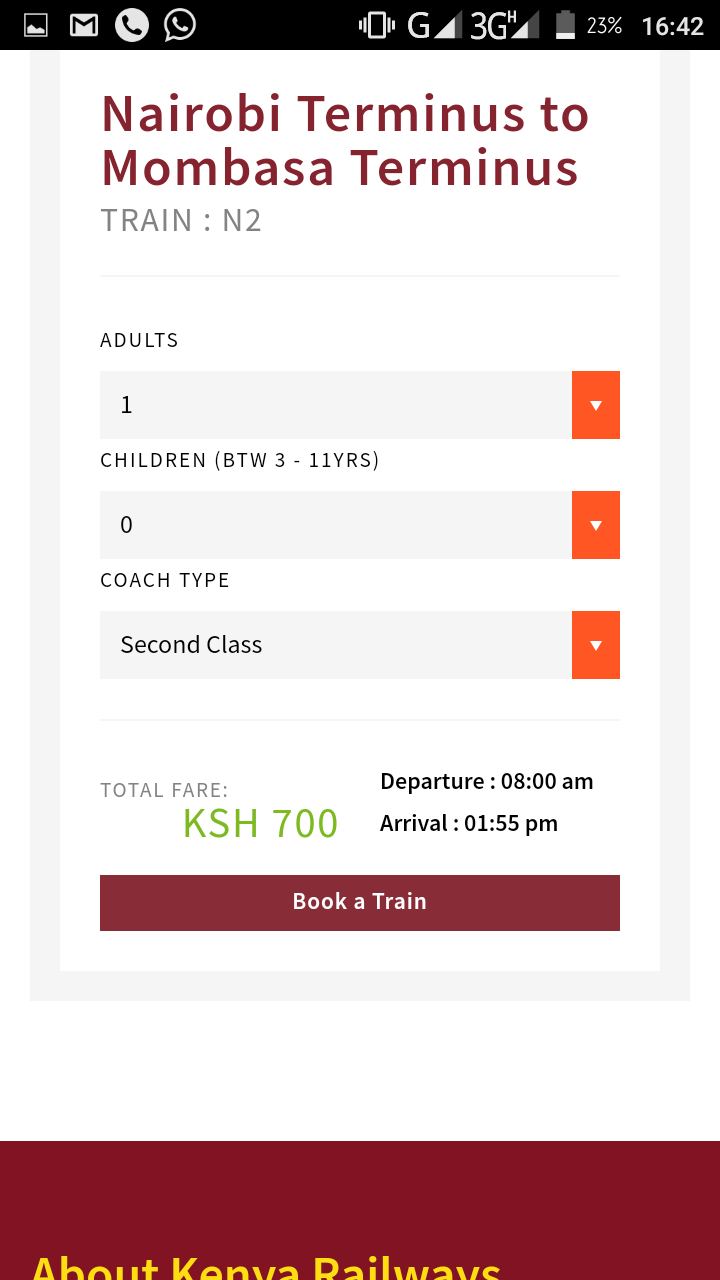 Kenya Railways Has Launched an online booking system - The