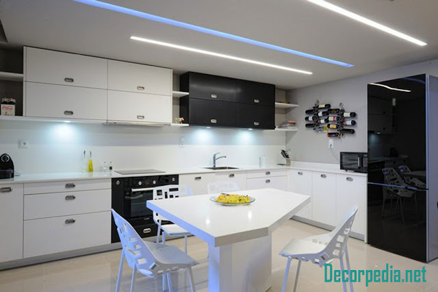 kitchen pop design, pop false ceiling design for kitchen with led lights