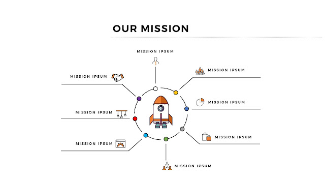 Free Infographic PowerPoint Template for Our Mission Presentation with Rocket and 8 Number Options