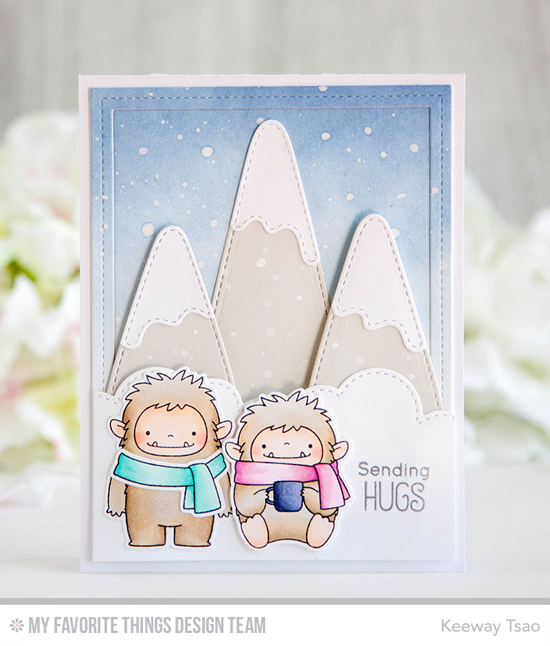 Handmade card from Keeway Tsao featuring Birdie Brown Beast Friends stamp set and DIe-namics, Snow-Capped Mountains, Stitched Cloud Edges, and Single Stitch Line Rectangle Frames Die-namics #mftstamps
