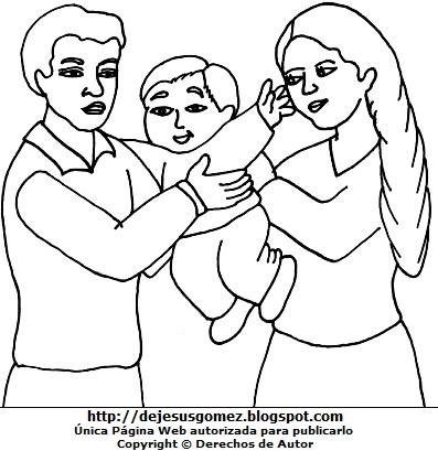 Dibujo de un niño con sus padres para colorear pintar  (Niño con papá y mamá). Dibujo del niño con sus padres hecho por Jesus Gómez