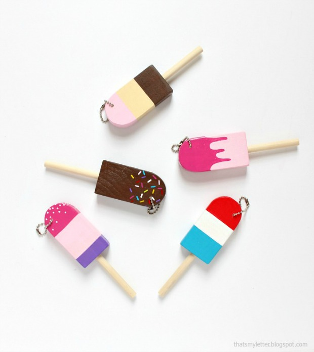 diy wood popsicle key fobs