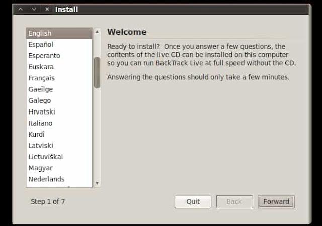pemilihan bahasa installasi backtack