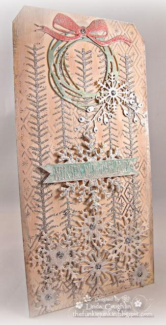 Tim Holt Tinsel stencil, Mini Paper Snowflakes, Sparkle & Christmas Stamp, BoBunny Glitter Paste, Prima Marketing Metallique Old Silver Wax