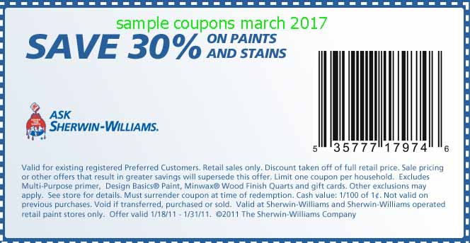 Print coupons for Sherwin-Williams Canada. Never miss another coupon. Be the first to learn about new coupons and deals for popular brands like Sherwin-Williams with the Coupon Sherpa weekly newsletters.