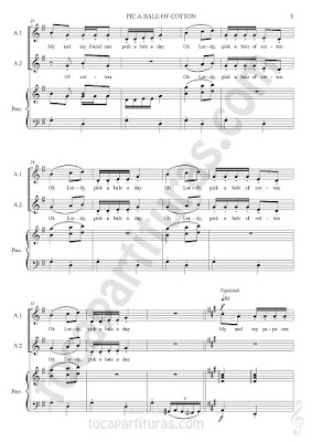 3 2 Score Pick a Bele of Cotton Partitura de Piano y Voces a dúo. Sheet Music for piano and Two Voice