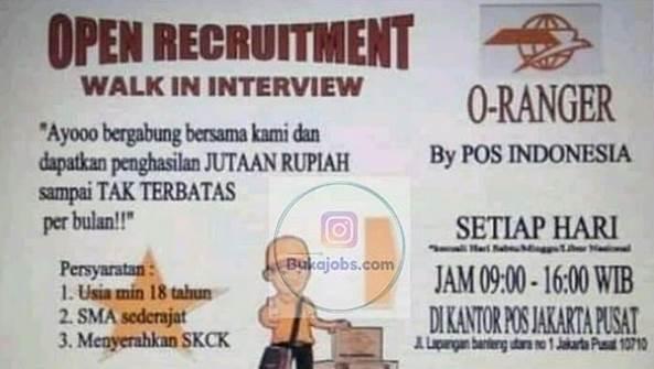 Lowongan Kerja O-Ranger Pos Indonesia terbaru