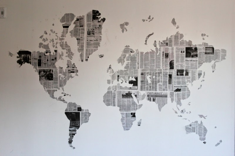 DIY: Newspaper Map Wall art
