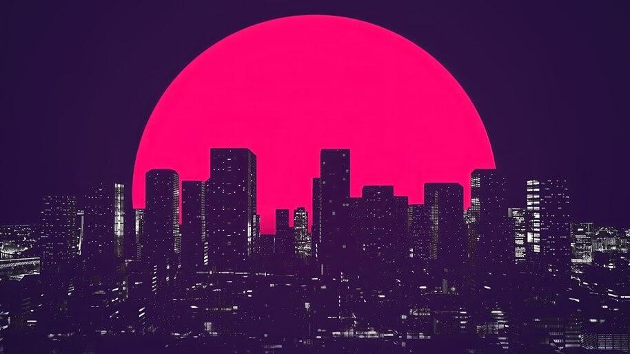 Night, City, Moon, Minimalist, Digital Art, 4K, #4.2028