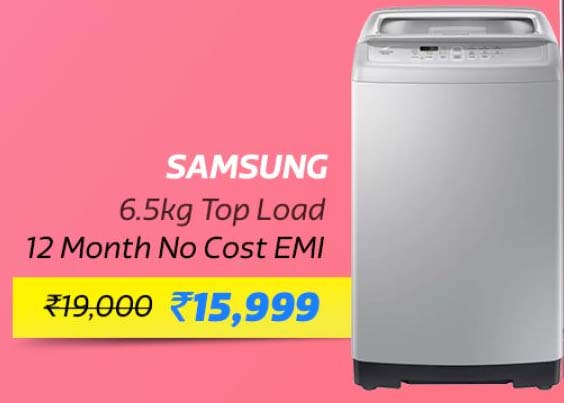 Samsung 6.5 kg Fully Automatic Top Load Washing Machine @ ₹15,999/- + 10% Instant Discount on SBI Debit & Credit Cards