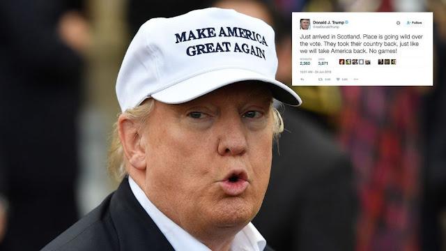 Donald Trump Tweets to Brexit vote