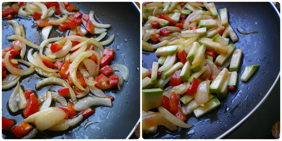 Revuelto de bacalao con verduras y tomate: Elaboración