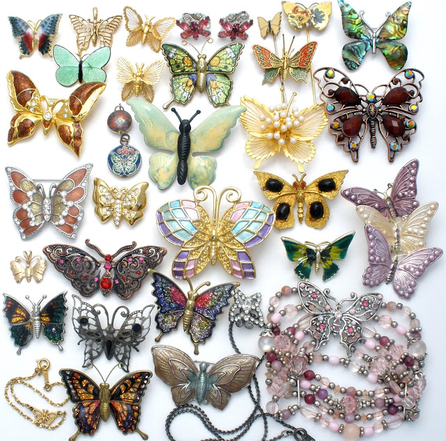 Vintage butterfly brooches at The Jewelry Lady's Store