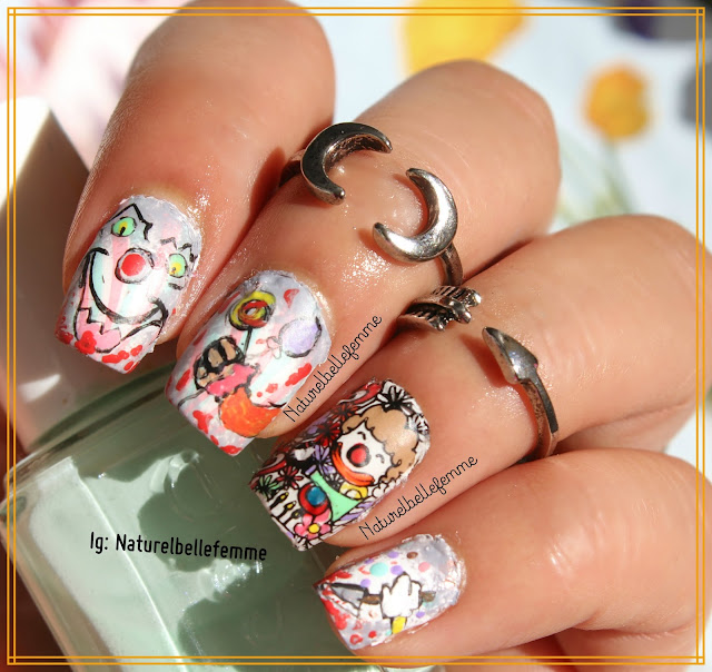 creepy halloween clown nails