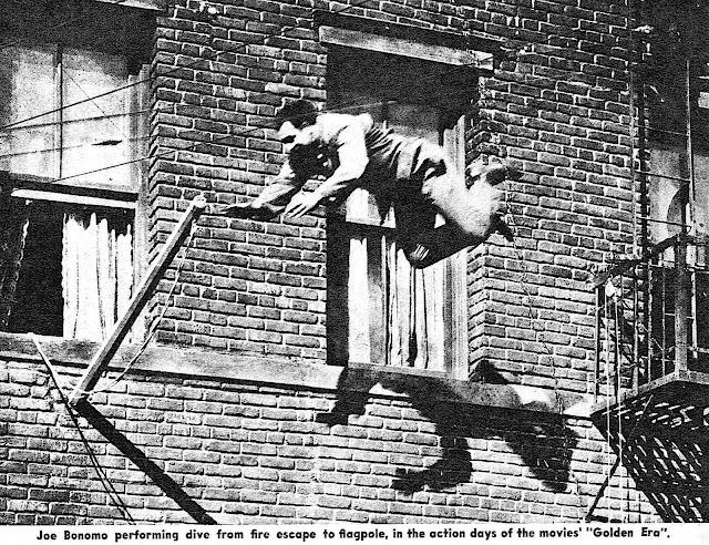 a photograph of 1962 film stunt man Joe Bonomo jumpimg