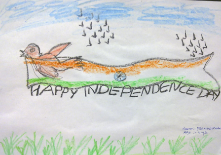 Creative drawing on Independence Day for Kids